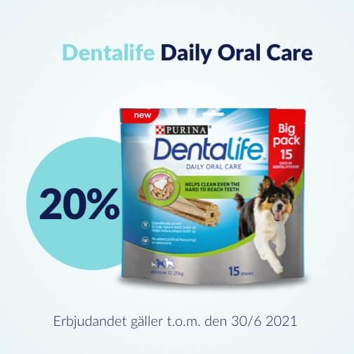 20 % rabatt på Purina Dentalife Tuggpinnar