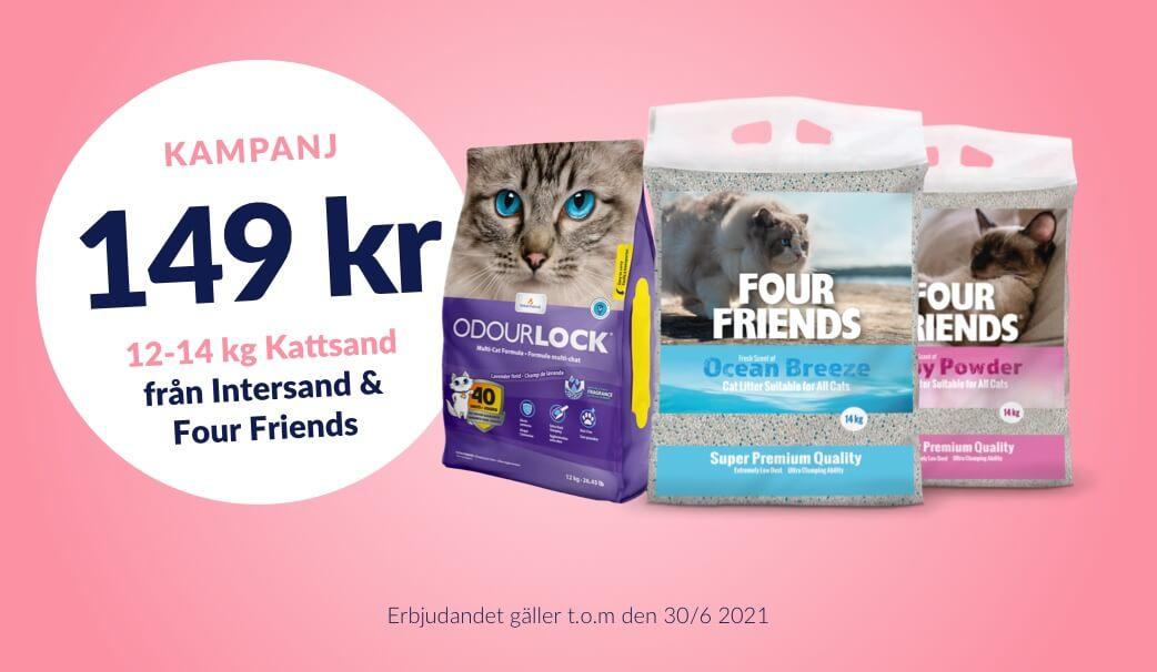 149 kr för alla 12-14 kg kattsand från Four Friends & Intersand