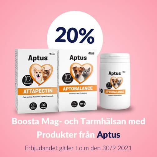 20 % rabatt på Aptus produkter för mag- och tarmhälsa