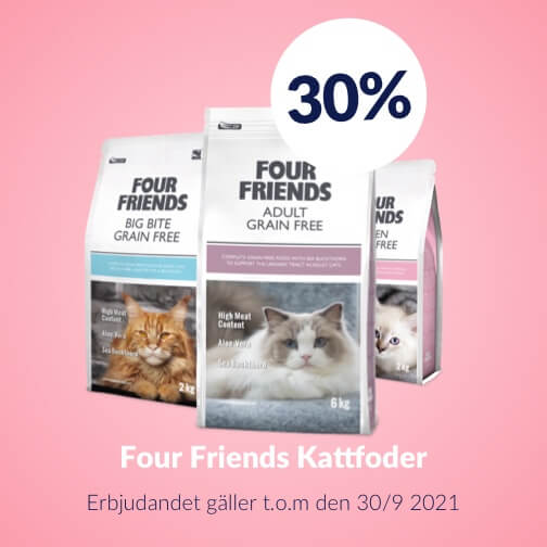 30 % rabatt på Four Friends Kattfoder