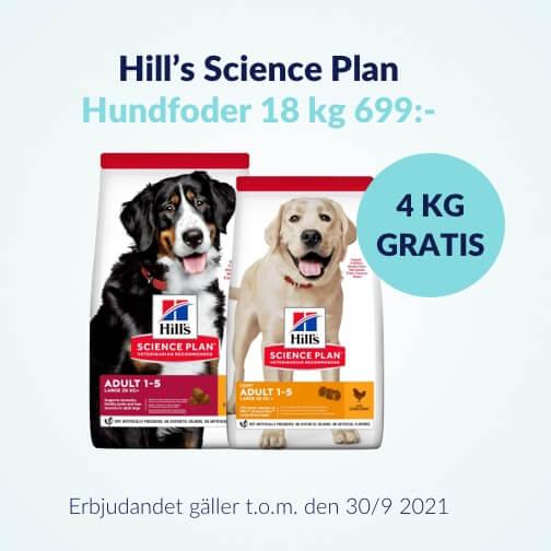 Köp 18 kg hundfoder från Hill's och få 4 kg Gratis